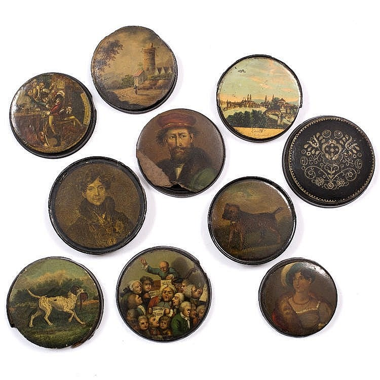 A COLLECTION OF TEN CONTINENTAL PAPIER MÂCHÉ CIRCULAR BOXES with painted an