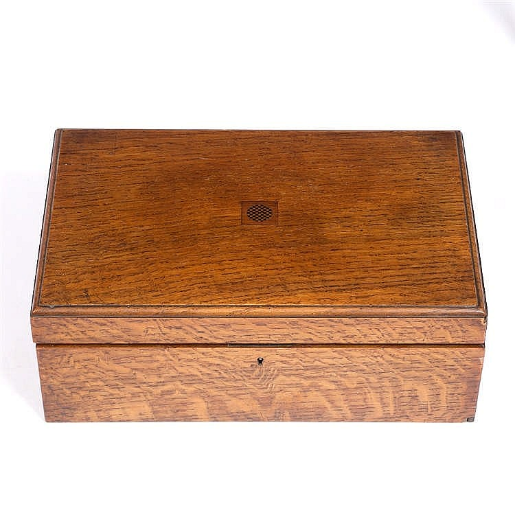 A VICTORIAN OAK WRITING BOX with inlaid miniature chess board ornament, fit