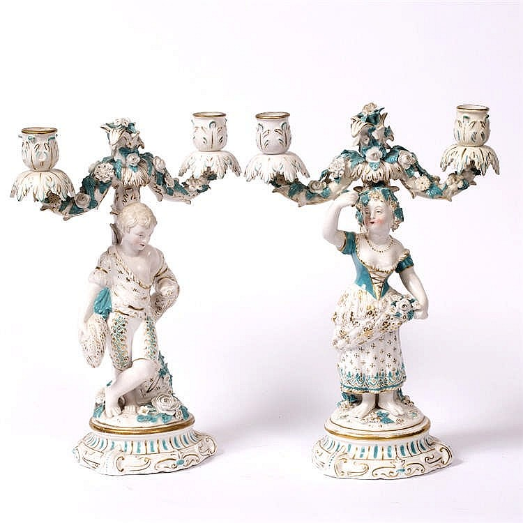 A PAIR OF 19TH CENTURY CONTINENTAL PORCELAIN TWO BRANCH CANDELABRA, each in