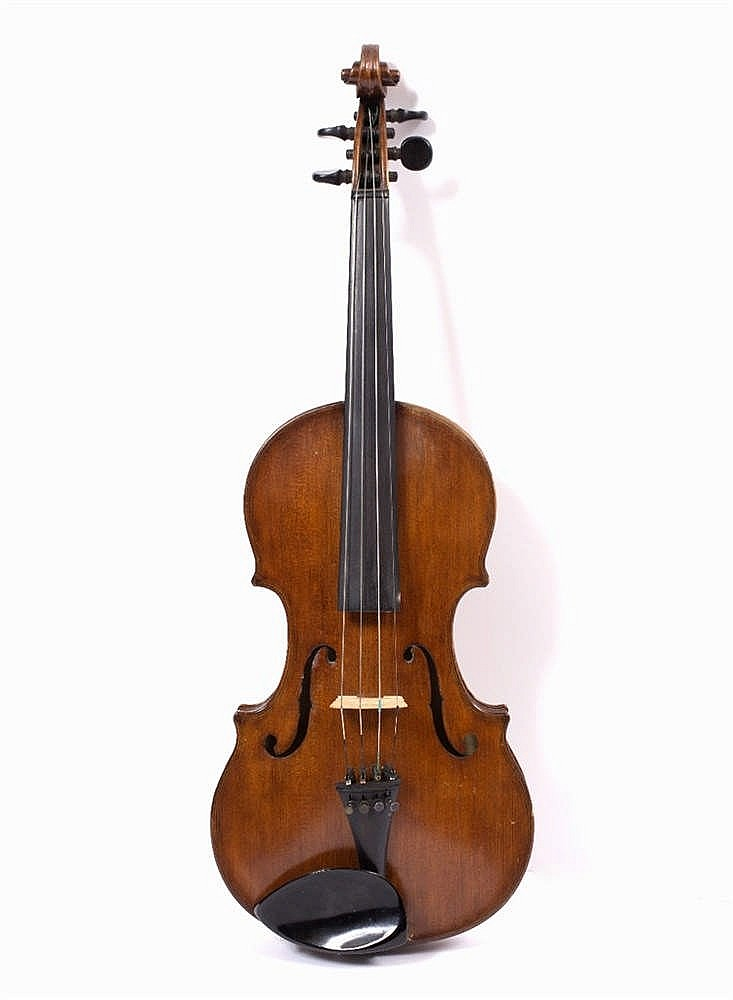 A VIOLIN with single piece back with label inscribed in ink 'Fecit James W.