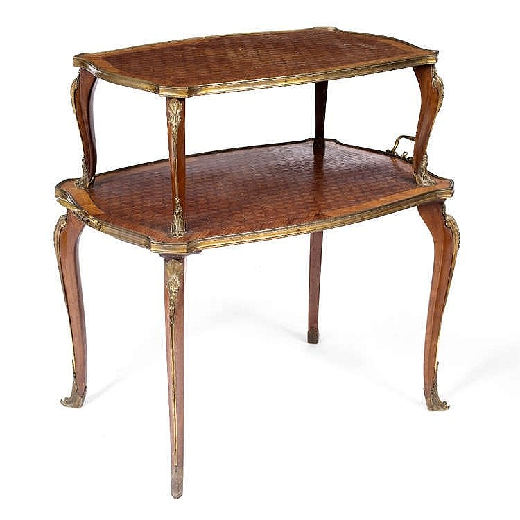 A 19TH CENTURY FRENCH KINGWOOD AND PARQUETRY ÈTAGÉRE, having gilt metal mou