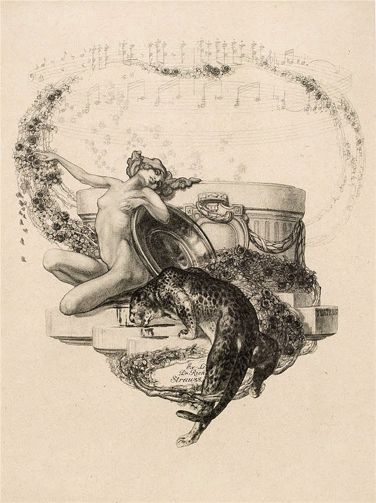 AFTER FRANZ VON BAYROS Bookplate for Richard Strauss printed with classical