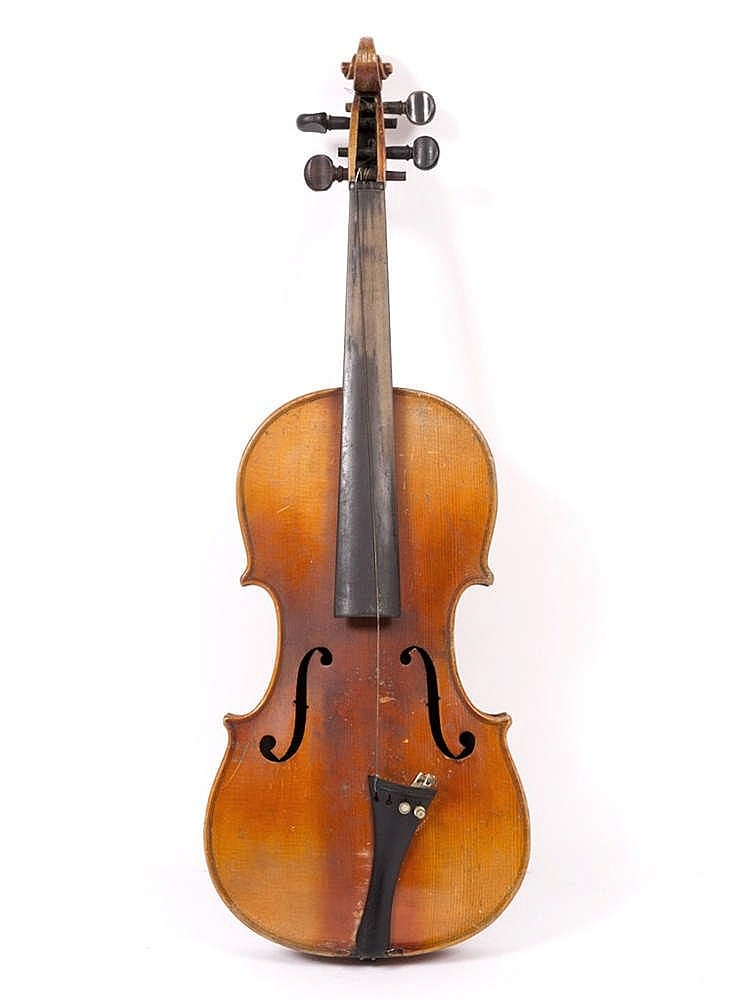 A 19TH CENTURY VIOLIN with two piece back, the scroll carved with lion head