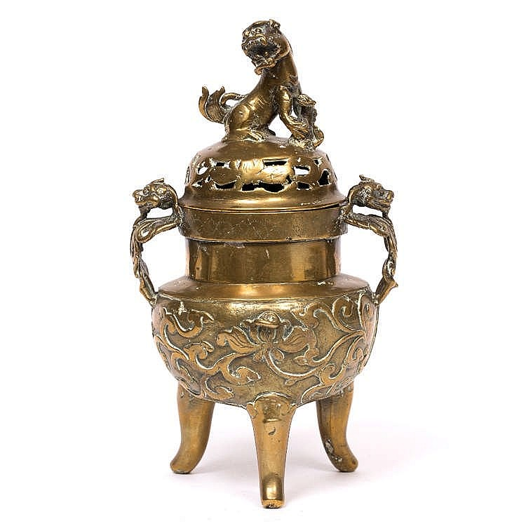 A CHINESE GILT BRONZE INCENSE BURNER AND COVER with raised foliate decorati