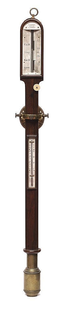 A MID 19TH CENTURY ROSEWOOD MARINE STICK BAROMETER the angled ivory scale w