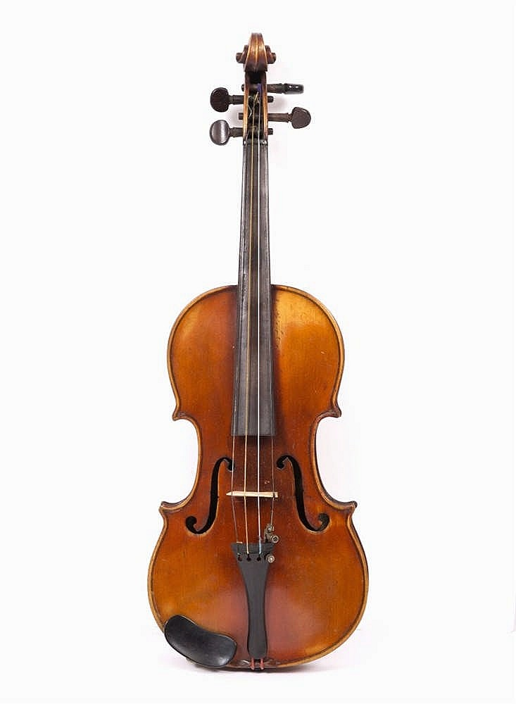 A VIOLIN with single piece back, bears label inscribed 'Gustave Bazin, Pari