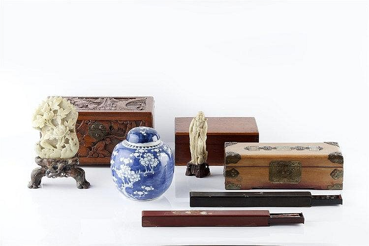 A miscellaneous group of Chinese items to include a Chinese ginger Jar