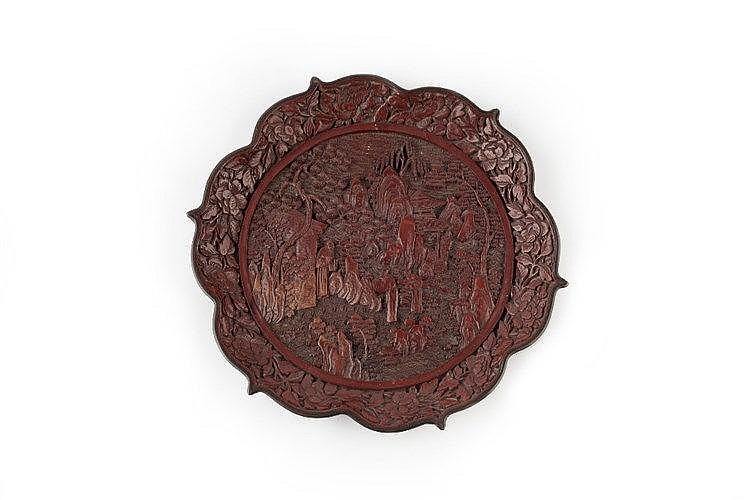 A Chinese red lacquer dish 19th Century with scholars and other figure