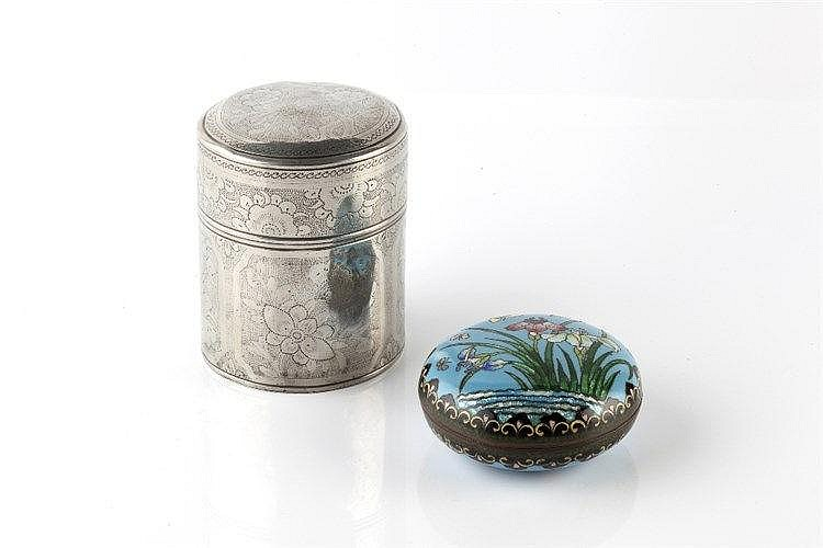 A Chinese circular ink box late 19th Century 10cm and a Chinese Pakton
