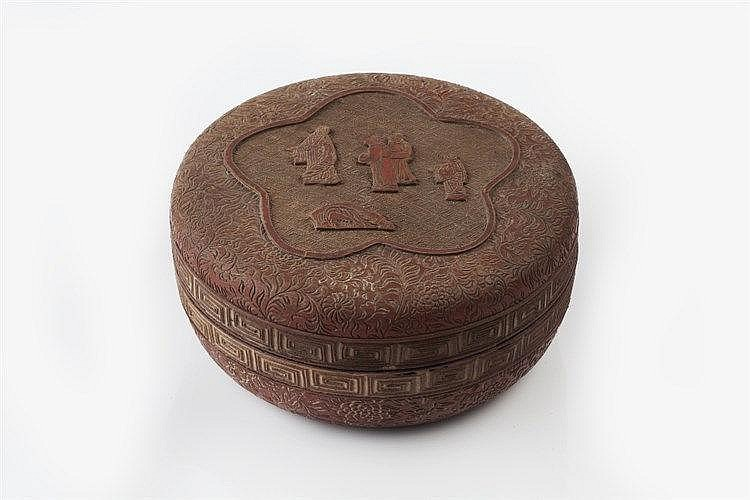 A Chinese cinnabar lacquer circular box and cover 19th Century the lat