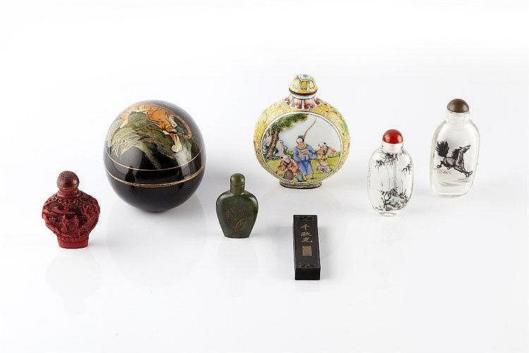 Four Chinese snuff bottles 20th Century one decorated with a horse in