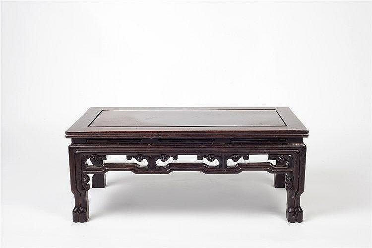 A Chinese hardwood kang table late 19th Century with rectangular