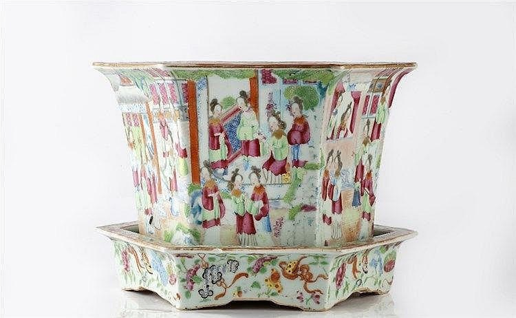 A Chinese Canton hexagonal jardiniere and stand mid 19th Century