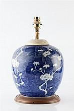 A Chinese crackleware baluster vase and cover 19th Century decorated w