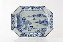 A Chinese blue and white export platter circa 1800 with river lan