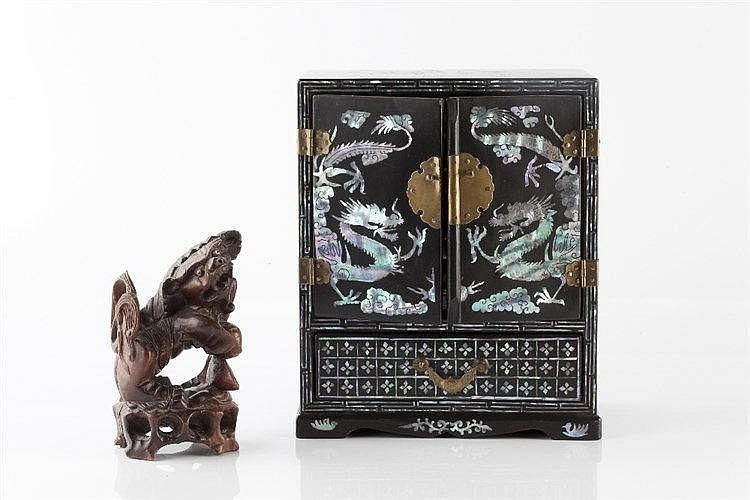 A small Chinese mother of pearl inlaid table cabinet circa 1900 w