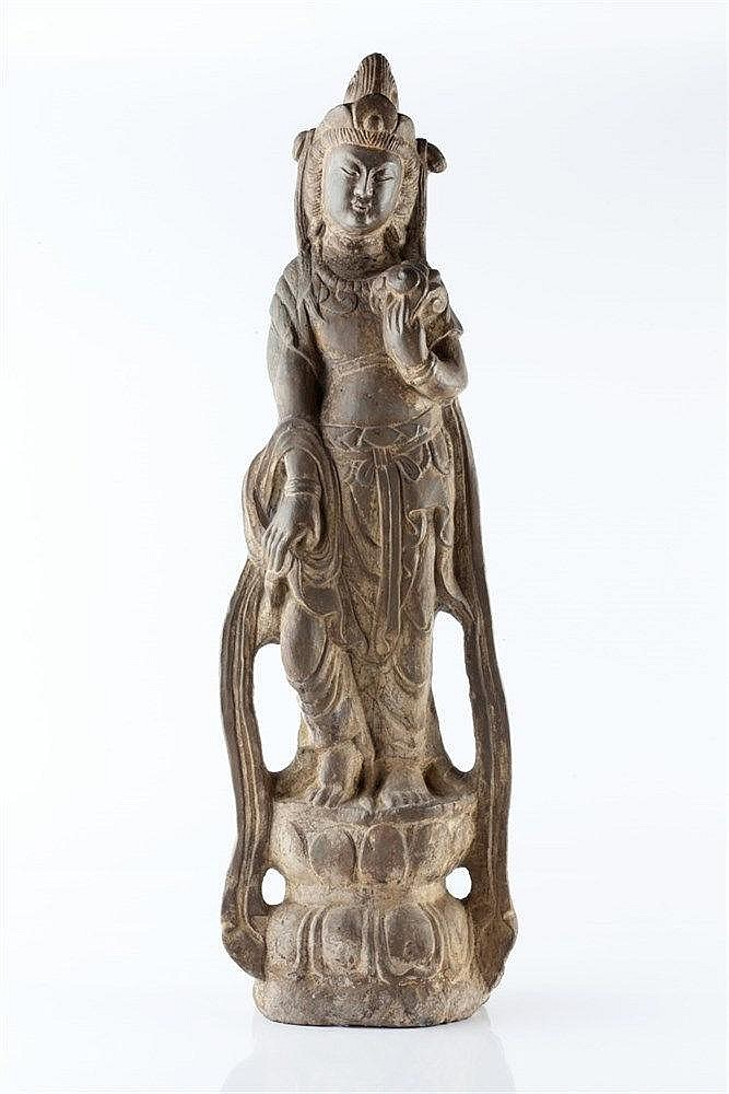 A Chinese carved stone model of Guanyin 17th Century the standing figu