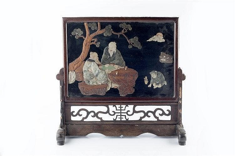 A Chinese soapstone table screen 19th Century two scholars playing Go