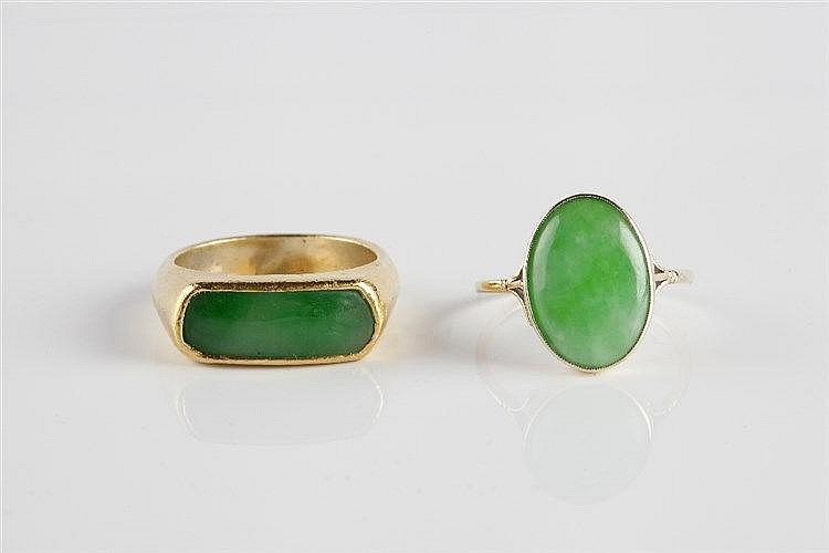 A Chinese gold and jade mounted ring early 20th Century the mount