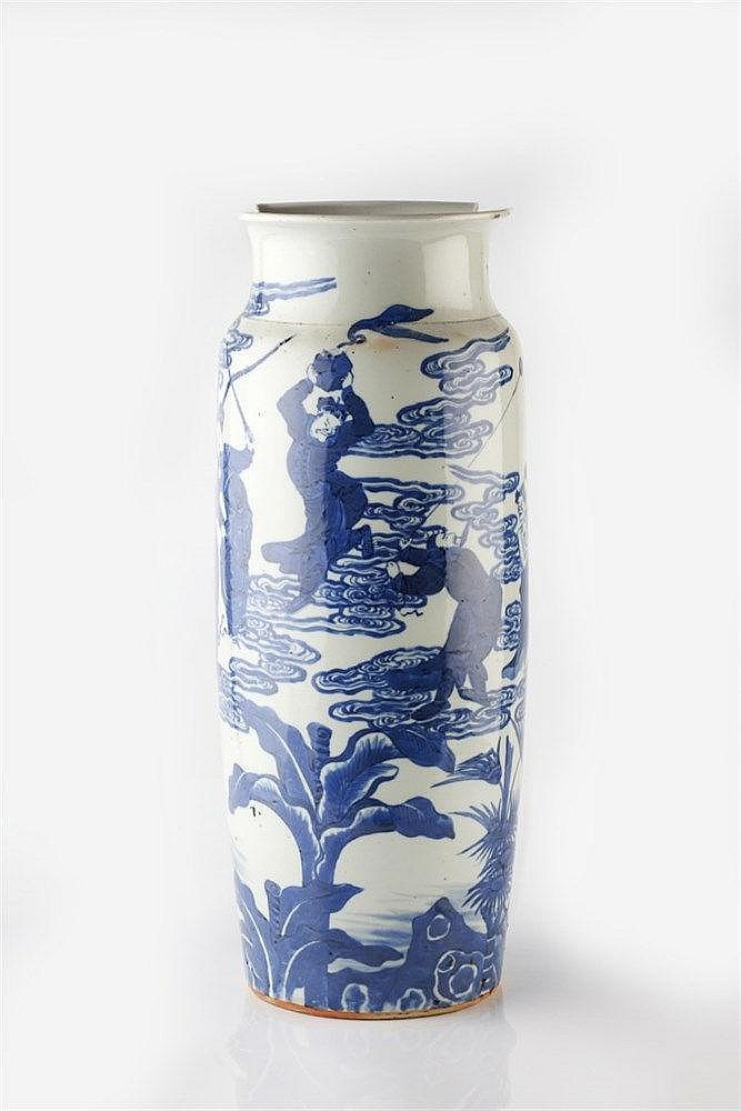A Chinese blue and white rouleau vase 19th Century decorated with seve