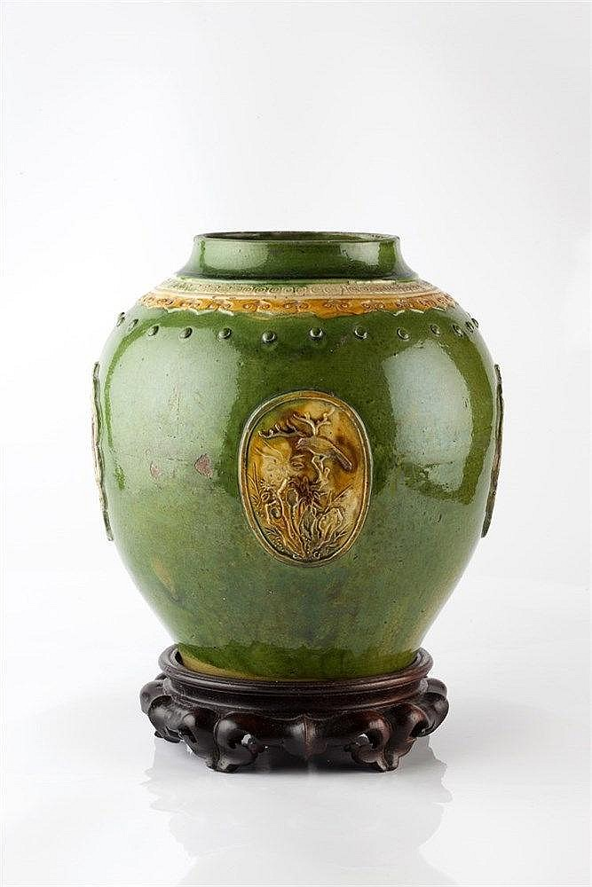 A Chinese Fahua jar or vase late Ming, 17th Century the low fired