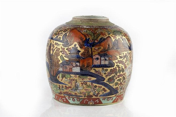 A Chinese ovoid ginger jar circa 1800 with clobbered decoration,