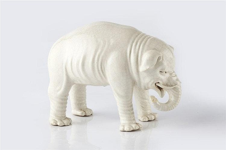 A Chinese blanc de chine model of an elephant Yongzheng/early Qianlong