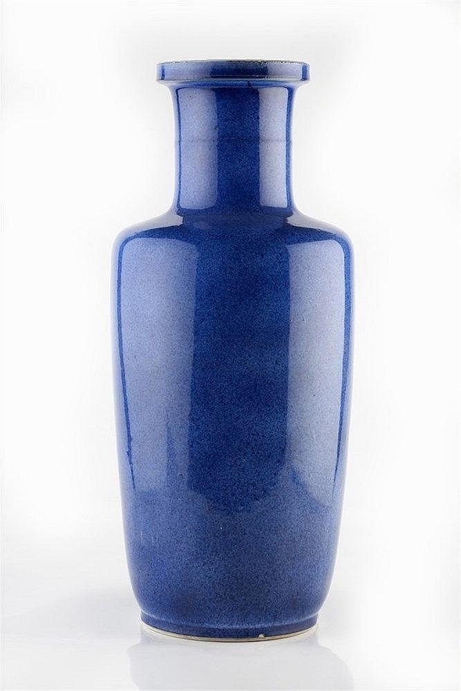 A Chinese powder blue rouleau vase 18th/19th Century the Rollwagon sha