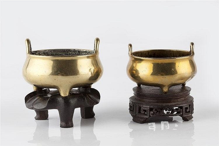 A Chinese bronze small ding 18th/19th Century Xuande mark with lotus s
