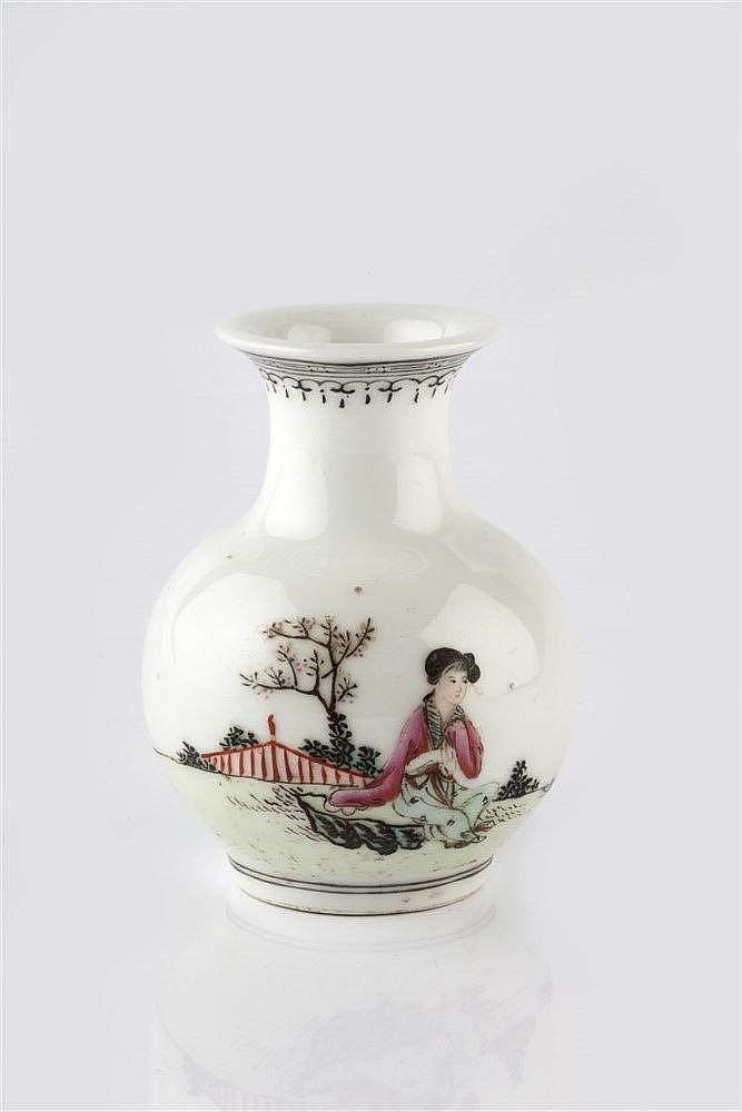 A Chinese small baluster vase Republic period painted enamels wit
