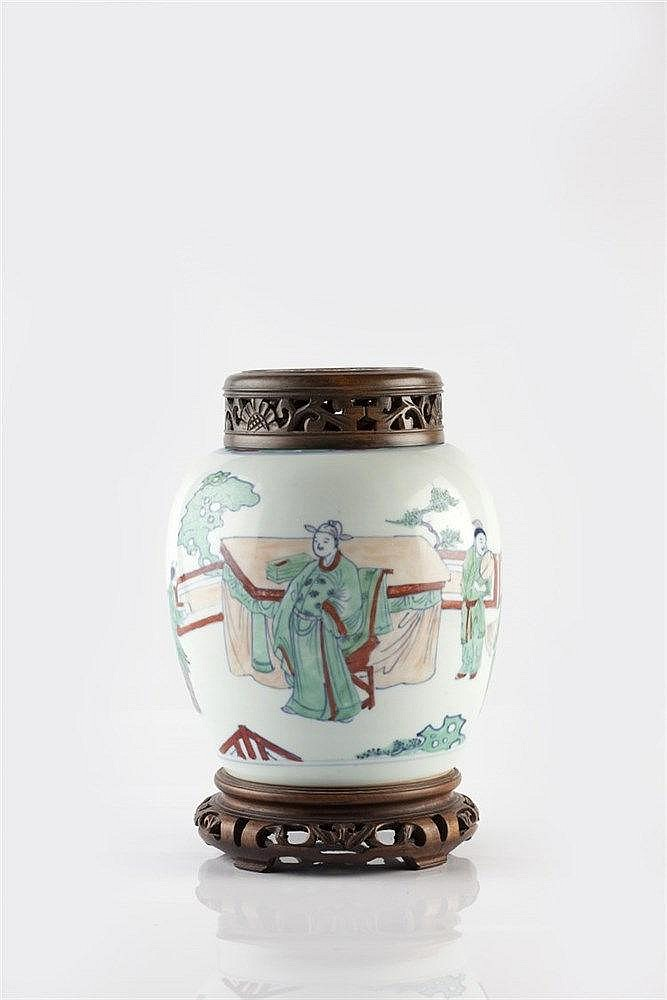 A Chinese ovoid polychrome jar 19th Century figures on a terrace with