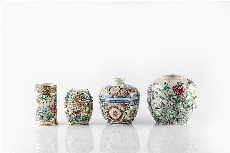 A Chinese famille rose enamelled ginger jar late 19th Century dec