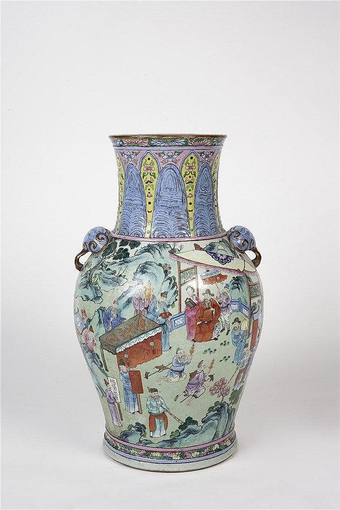 A Chinese Canton Porcelain Vase 19th Century of baluster form, decorat