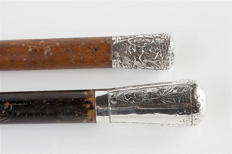 Two Chinese silver mounted canes 19th Century