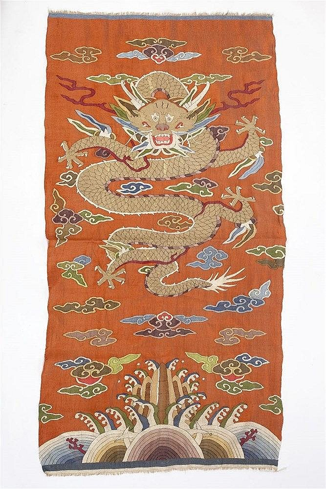 A Chinese kesi dragon silk panel 19th Century with wave and cloud desi