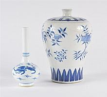 A Chinese blue and white bottle vase late 19th Century decorated