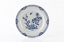 A Chinese blue and white porcelain large dish circa 1800 peony an