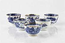 A set of six Chinese blue and white export tea bowls circa 1800 e