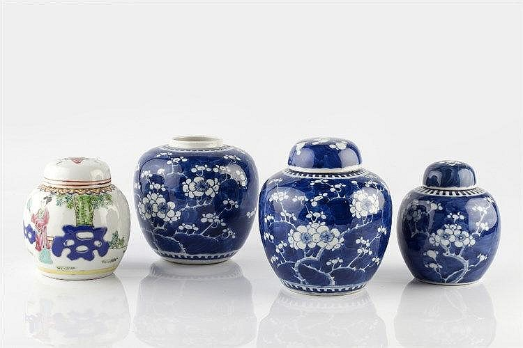 A Chinese blue and white porcelain ginger jar Guangxu 13cm, two other