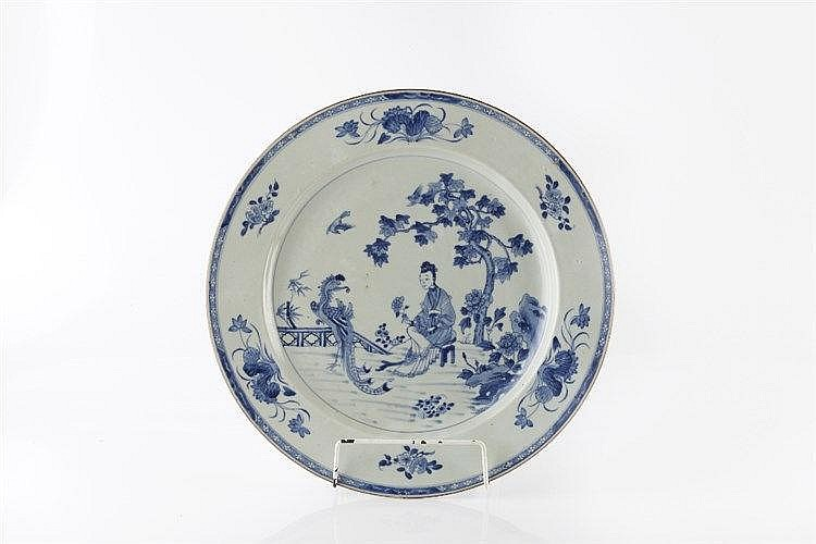 A Chinese blue and white porcelain charger early 19th Century Gua