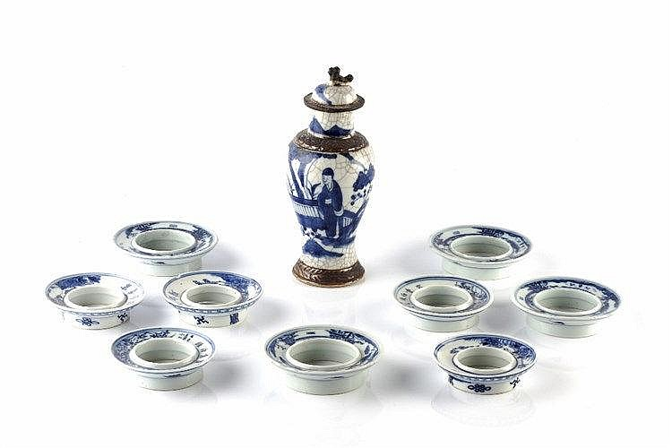 A collection of nine Chinese blue and white porcelain vase mounts/rims 19th