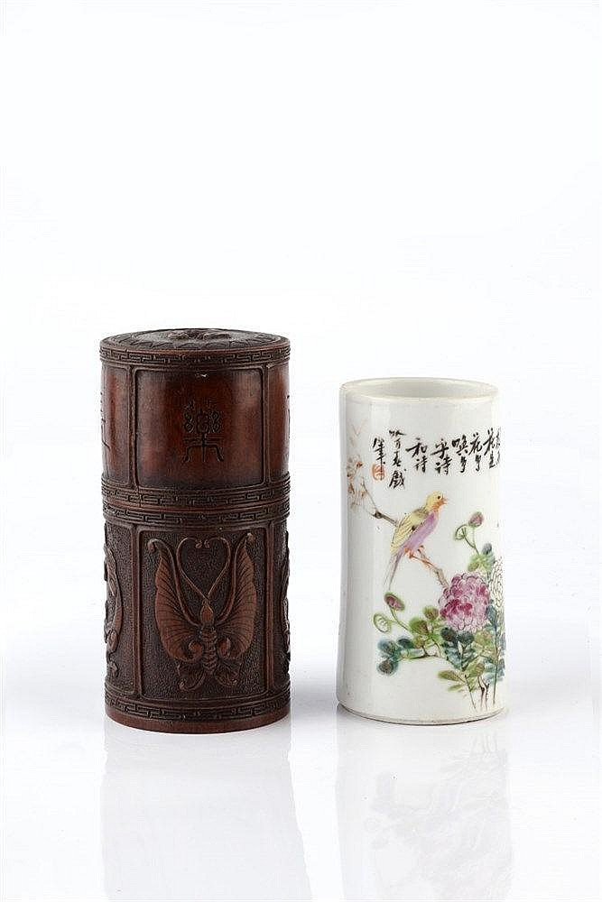 A Chinese bamboo cylindrical container late 19th Century carved i