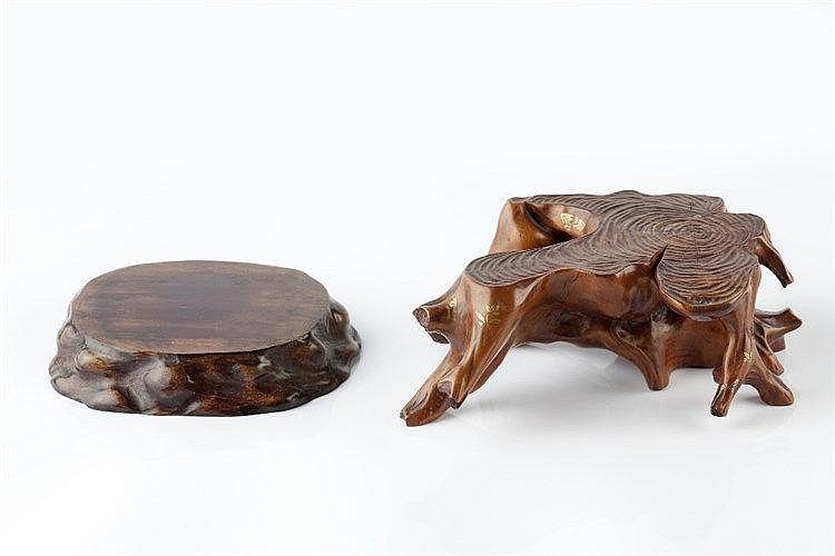 A Chinese hardwood oval stand and one other stand of root form, 20cm