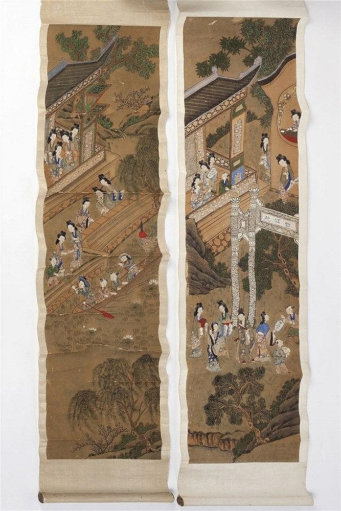 A Chinese Scroll late 19th century depicting ladies and children