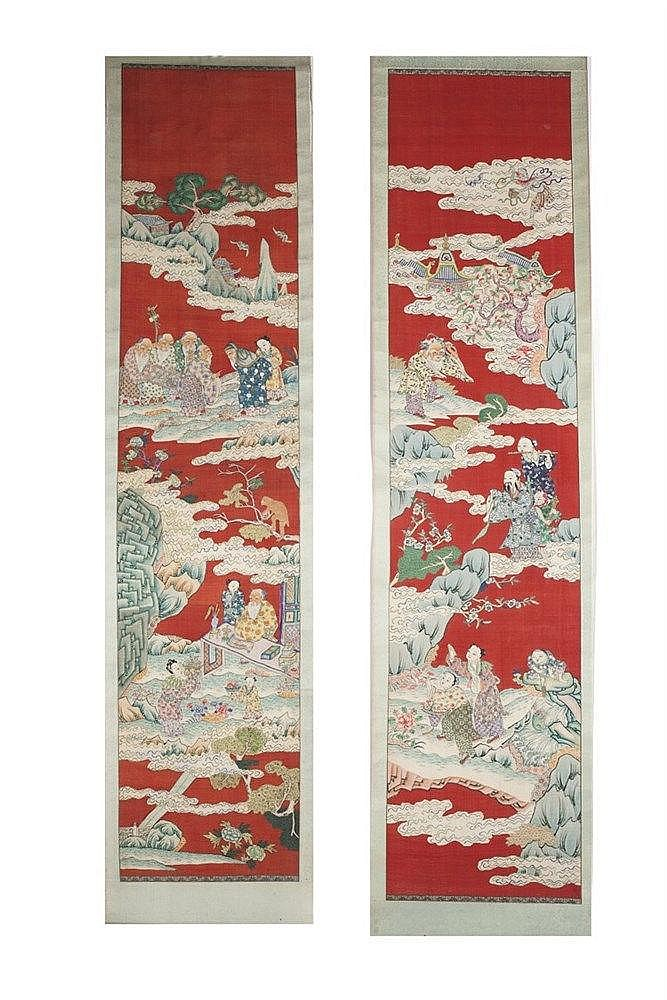 A pair of Chinese Scrolls 19th/20th Century depicting immortals in a h