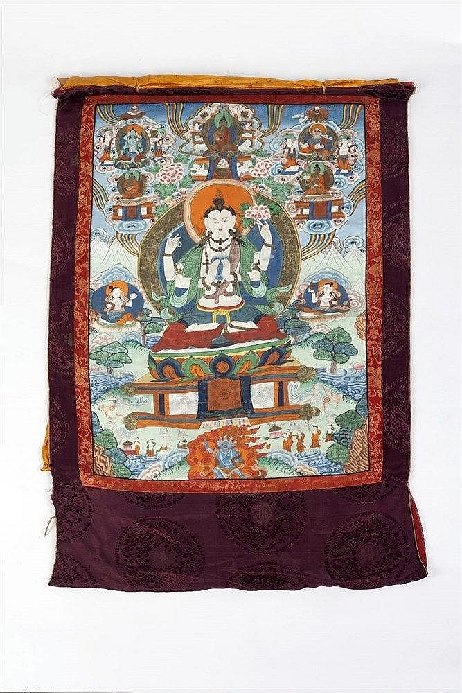 A Tibetan Thangka 19th Century depicting Buddha on a lotus base surrou