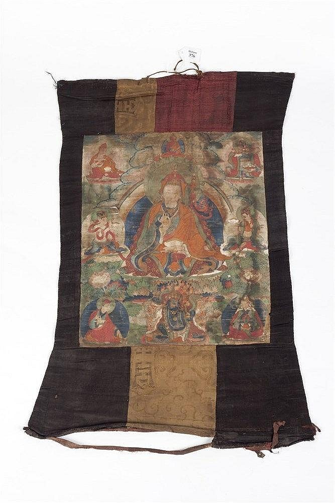 A Tibetan Thangka 18/19th Century depicting Buddha in a seated positio
