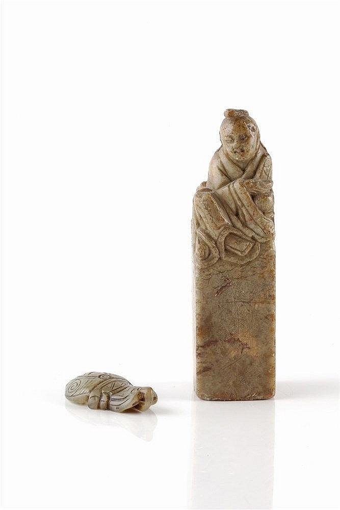 A Chinese soapstone seal early 19th Century carved with a Buddha,