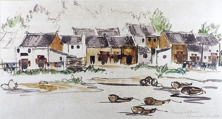 Rosamond A Brown Chinese New Year - 1974, watercolour, 90cm x 48cm