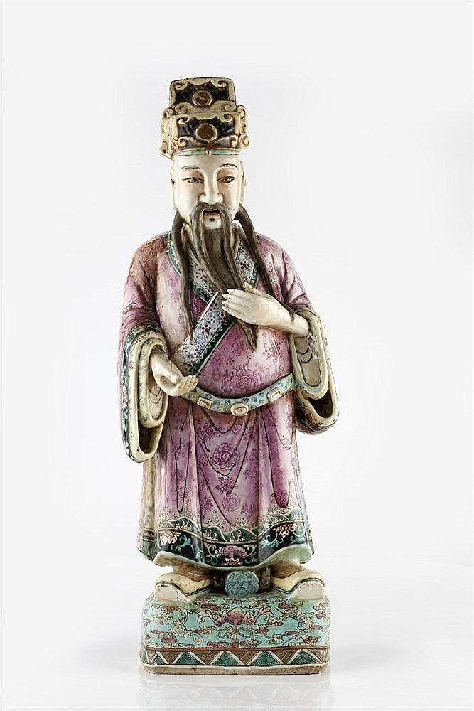 A Chinese famille rose decorated Canton porcelain figure of Wuti circa